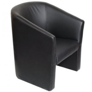 black vinyl club chair