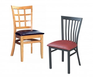 wood and metal restaurant chairs